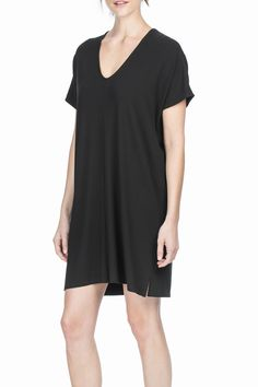 A blend of viscose and spandex creates the perfect fabric with softness stretch and drape; ideal for a Fall dress.  Short Sleeve V-Neck Dress by Lilla P. Clothing - Dresses - Work Clothing - Dresses - Casual Long Island