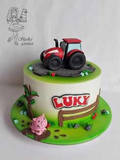 Tractor - cake by Sladká závislost Fire Truck Cupcakes, Tractor Birthday Cakes, Digger Cake, Farm Animal Cakes, Rodjendanske Torte, Farm Cake, Cakes For Boys, Cake Tutorial, Creative Cakes
