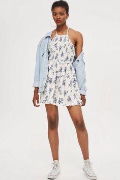 Shirred Halter Mini Dress