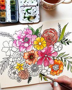 alisaburke: a peek inside my process Watercolor Sketchbook, Art Sketchbook, Watercolor Paintings, Watercolor Tips, Watercolors, Art Drawings Sketches, Flower Drawings, Floral Drawing, Guache