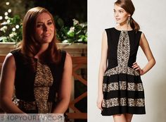 Annabeth Nass (Kaitlyn Black) wears this black and floral stripe in this week's episode of Hart of Dixie. It is the Anthropologie Laced Strata Dress. Buy it HERE for $99.95