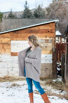 "The Habitat cardigan free crochet pattern uses a simple rectangle to create bat-wing (dolman) sleeves and a flowy, drapey sweater. Make your own with the step-by-step tutorial using Lion Brand Heartland yarn in the color ""Grand Canyon."""