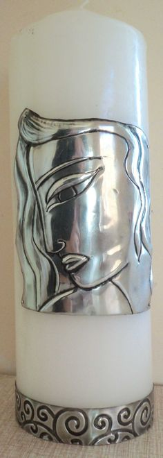 More Pewter Products - pewter face on candle
