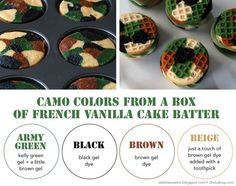 Camo Cupcake Sandwiches!!  I made them for my sons 8th birthday!  Super fun! tarabrock