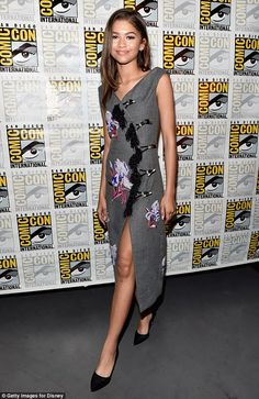Steal Zendaya's impeccable style in a midi length tweed dress. Click 'Visit' to buy now. #DailyMail