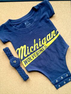 Up-Cycled University of Michigan U of M T-Shirt Onesie With Headband on Etsy, $23.50