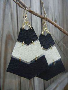 Zebra Chevron Leather Earrings by BongoP on Etsy