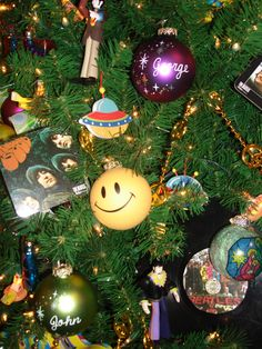 personalized ornaments for the boys in the band on the Beatles tree #Beatles #personalized #ornaments #Christmas #tree #BronnersChristmasWonderland #Bronners