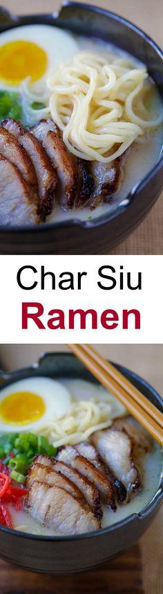 Char Siu Ramen – Amazing ramen topped with Chinese char siu roasted pork belly. Homemade ramen never tasted so good with Nissin RAOH ramen | rasamalaysia.com #sponsored