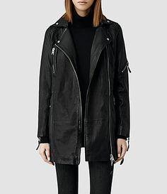 Womens Asker Leather Biker Jacket All Saints