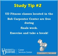 Need a break from the computer screen or reading pages of notes? Exercise! #udel #UDfinals