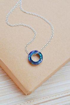 Sterling Silver Peacock Blue Swarovski Element Circle Pendant - Kim Jewelry Design