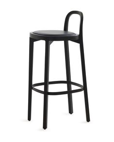 Woodnotes Siro+ bar stool, oak and stained black, black painted footrest, seating height 75 cm, black leather upholstered seat.  The Siro+ barstool was one of the 2018 winners in the German Design Award's Excellent Product Design category. The honour is handed out by the German Design Council, a leading competence centre for design promotion.