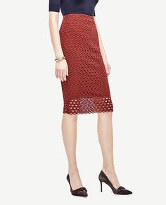 Image of Tulip Lace Pencil Skirt