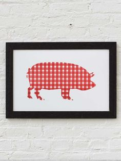 We made a letterpress print on cotton paper for gingham. Made with love in Massachusetts in small runs of fifty to one hundred prints at a time. Pig Puns, Letterpress Printing, American Made, Pretty Pictures, Custom Framing, Gingham, House Warming, Folk Art, Moose Art