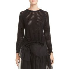 Women's Simone Rocha Long Sleeve Bubble Sweater ($550) ❤ liked on Polyvore featuring tops, sweaters, black, long sleeve sweater, crew neck top, ruffle long sleeve top, long sleeve tops and bubble top