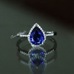 Pear design sapphire ring with 925 sterling silver, perfect as engagement/wedding ring, birthday or anniversary gift, etc. Main Stone:7*9mm lab
