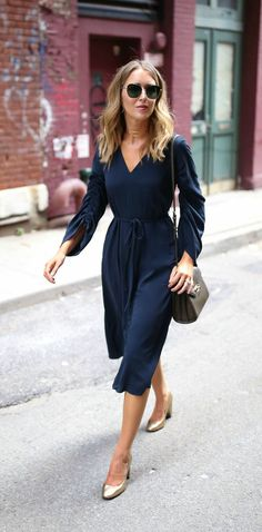 Click for outfit details! Navy v-neck midi dress. gold block heel pumps + gold choker {tibi, classic style, workwear, office style, nordstrom anniversary sale 2017}