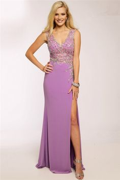 Fitted A Line V Neck Open Back Lilac Beaded Long Prom Dress With Slit