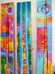 3trees- long brightly painted panels for back drops