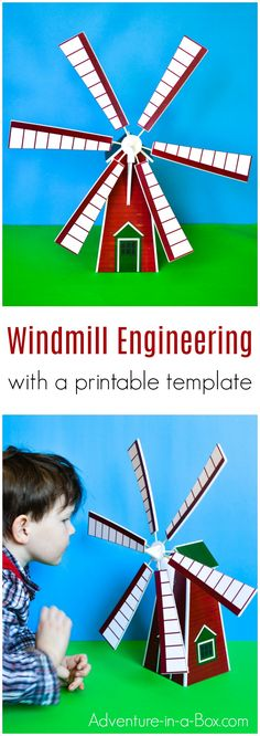 Make a windmill model and hold a scientific study with children! With a printable template, building your own toy windmill is a quick and easy STEM craft. 28 Days of STEM and STEAM Activities for Kids! Creative Activities For Kids, Science Projects For Kids, Stem Projects, Steam Activities, Math Activities, Science Worksheets, Writing Prompts For Kids, Kids Writing, Stem For Kids