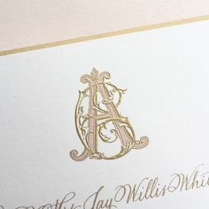 """Bell'INVITO Couture """"C"""" and """"A"""" monogram in gold and blush for a wedding invitation suite featuring two-color engraving, gold beveled edges and calligraphy"""