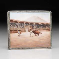 Sterling Cigarette Case with Handpainted Bullfight