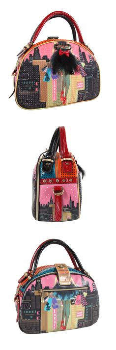 f76ebc3cd5 DARK CITY PRINT BOWLER BAG by Nicole Lee  nicolelee  purse  fashion Nicole  Lee