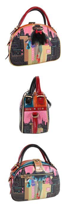DARK CITY PRINT BOWLER BAG by Nicole Lee #nicolelee #purse #fashion