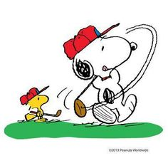 Snoopy and Woodstock Wearing Red Hats and Playing Golf Together Peanuts Cartoon, Peanuts Snoopy, Golf Drawing, Snoopy Pictures, Golf Art, Golf Theme, Joe Cool, Golf Quotes, Golf Sayings