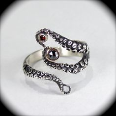 Wicked Tentacle Ring w/ Red Cognac and Black Diamond by OctopusMe, $585.00