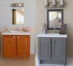 bathroom makeover on a budget * bathroom makeover on a budget . bathroom makeover on a budget small . bathroom makeover on a budget diy . bathroom makeover on a budget ideas . bathroom makeover on a budget tile . bathroom makeover on a budget vanities Bathroom Renos, Grey Bathrooms, Bathroom Renovations, Home Renovation, Paint Bathroom Cabinets, Bathroom Storage, Bathroom Vanity Makeover, Painting Bathroom Vanities, Bathroom Bin