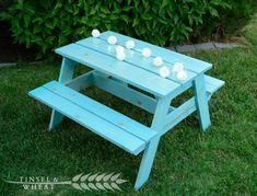 Aqua DIY Kids Picnic Table by Tinsel and Wheat picnic table ideas Kids Picnic Table Plans, Outdoor Picnic Tables, Outdoor Play, Crafts To Do, Wood Crafts, Small Kids Table, White Tinsel, Small Backyard Landscaping, Landscaping Ideas