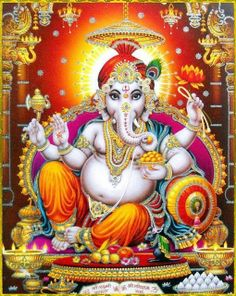 The Lord with the elephant face, served by all the Ganas, One who takes as His food, the essence of Kapitta and Jamboophala (these are two favorite fruits of #Ganesh), son of #Uma (Mother Parvati), destroyer of misery of the devotees, controller of obstacles, we worship Your Lotus Feet.