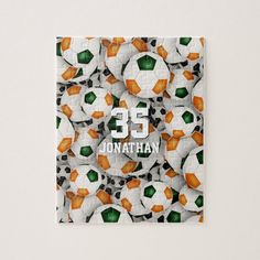 green orange team colors boys girls soccer jigsaw puzzle