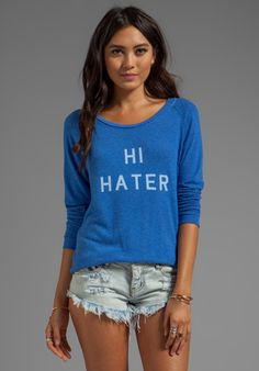 LOCAL CELEBRITY Hi Hater Bye Hater Sweater in Royal Stone at Revolve Clothing - Free Shipping!