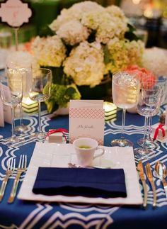 Blue and white table cloth