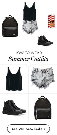 """Summer outfit"" by loudy-curls on Polyvore featuring Glamorous, MANGO, Converse and NIKE"