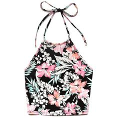 Forever 21 Tropical Dream Halter Top ($8.80) ❤ liked on Polyvore featuring tops, crop top, strappy top, tropical print top, strap crop top and halter-neck crop tops
