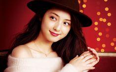 Herunterladen hintergrundbild nozomi sasaki, japanische schauspielerin, porträt, schöne japanische frau in einem hut