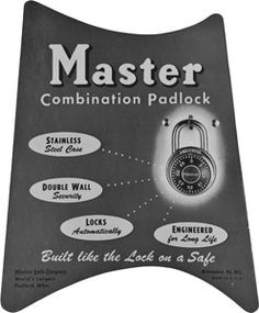 1953-1955 - Master Lock redesigned the 1500D black dial combination lock. The new design is the same design that it has today.