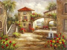 "Spanish Street - Huge 36""x48"" Reproduction Oil Painting on Canvas 