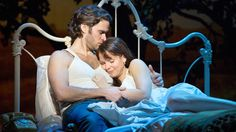 """Broadway play """"Bridges of Madison County"""" using an antique iron bed as a prop."""