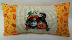 Kitten And Jack O Lantern Cross Stitched Mini by luvinstitchin4u