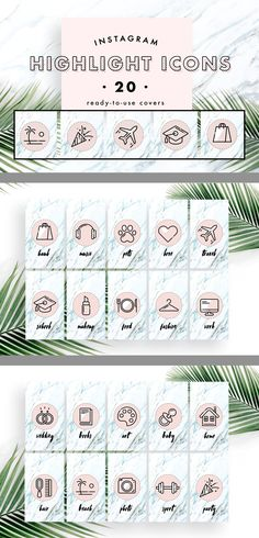 Icons: music pets love travel school makeup food fashion work wedding books art kids home hair beach photo sport party haul Instagram Party, Instagram Logo, Free Instagram, Instagram Story Ideas, Design Web, Layout Design, Story Highlights, Instagram Highlight Icons, Wedding Book