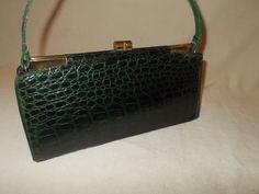 Wow a beautiful vintage French 1940s green crocodile /alligator handbag in amazing condition by VintageHandbagDreams on Etsy
