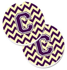 Letter C Chevron Purple and Gold Set of 2 Cup Holder Car Coasters CJ1058-CCARC