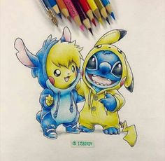 Stitch and pikachu dressed as eachother cx