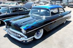 black and blue flamed 57