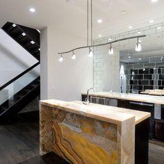 mirrored subway tiles